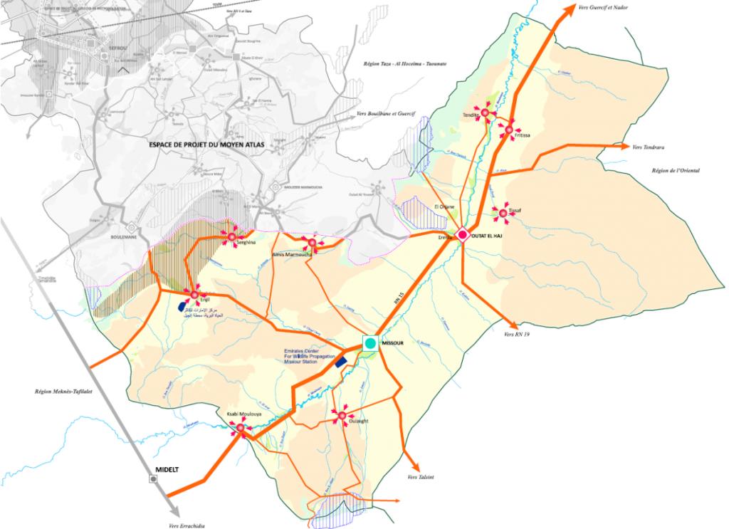 Schéma de structure de la Moulouya
